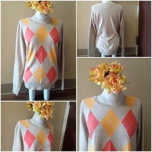 🔥 IZOD🔥 coral & tangerine Argyle sweater XL